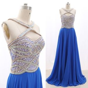 Dresses & Skirts - Halter Crystals Prom Dress Pageant Formal Gown